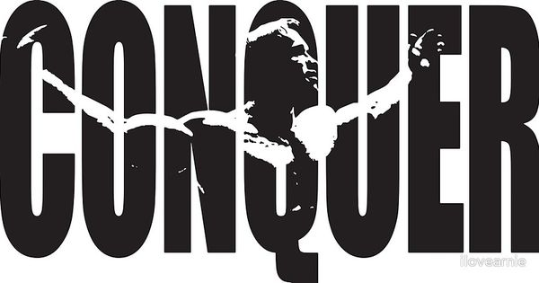 conquer arnold iconic black poster by