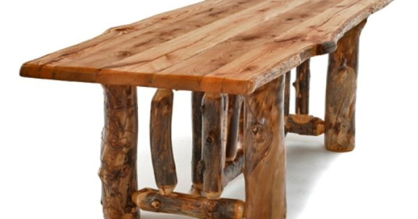 Log Dining Table Reclaimed Live Edge Top Lodge Mountain Dining Table Rustic Furniture Rustic Table