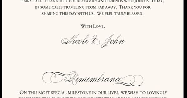 In Remembrance Wedding Program