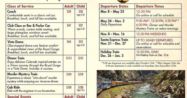 Colorado Royal Gorge Railroad 2014 schedule & rates | Go ...