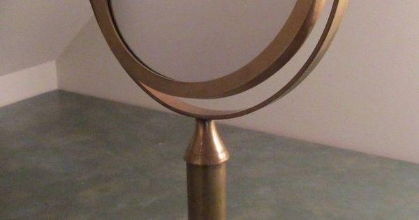 Vintage Round Brass Vanity Mirror Tilt Stand Table Top