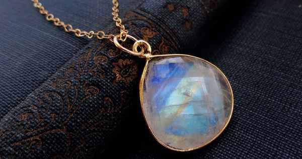 moonstone jewelry, LARGE moonstone pendant necklace, Blue flash, blue fire, gold fill,
