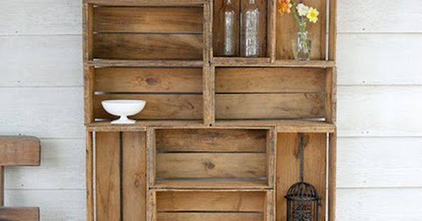 Apple Crate Shelves - use old crates for display/storage on wall behind