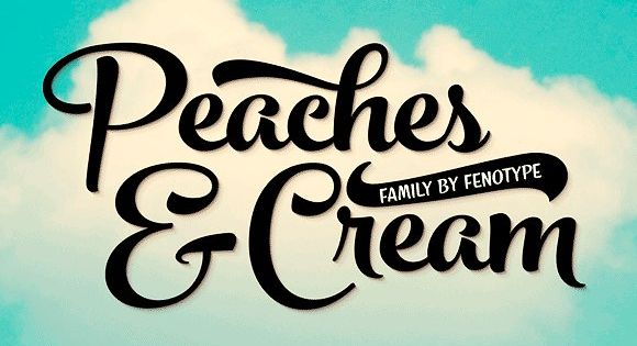 Peaches and Cream is a bold brush style script family of three weights, ornament set and an all caps font