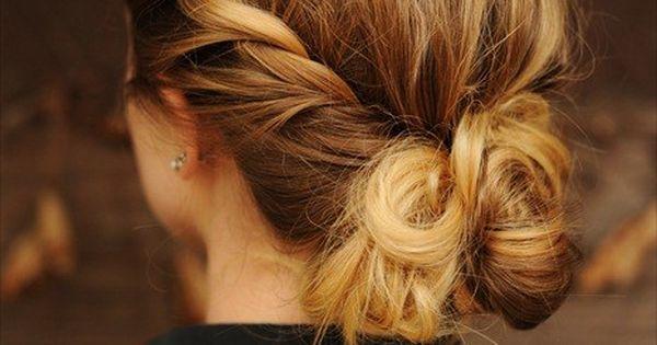 Idée coiffure : Chignon pour mariage, soirée ou cérémonie sur cheveux longs.