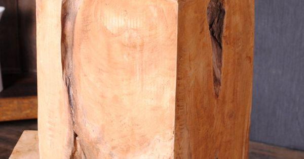 Massiv holzklotz beistelltisch indo hocker heavy stool for Holzklotz beistelltisch
