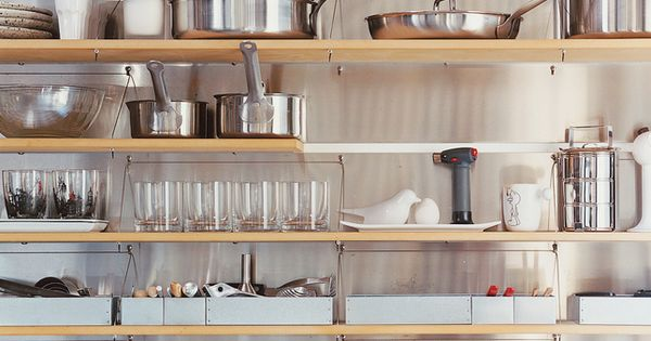 "kitchen organization, small space storage with the four-punch strategy: ""open shelving, vertical"