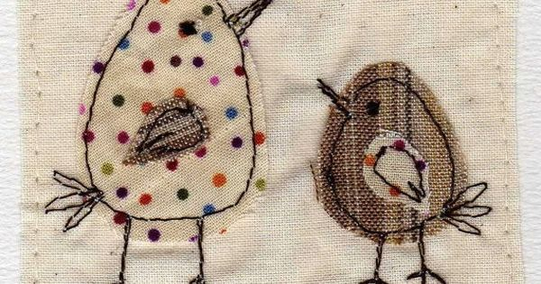 Love these stitched birds a bouquet of pikake bordados
