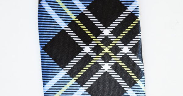 Mens Tie Blue and Black Modern Tartan Pattern by TiestheKnot, $8.99