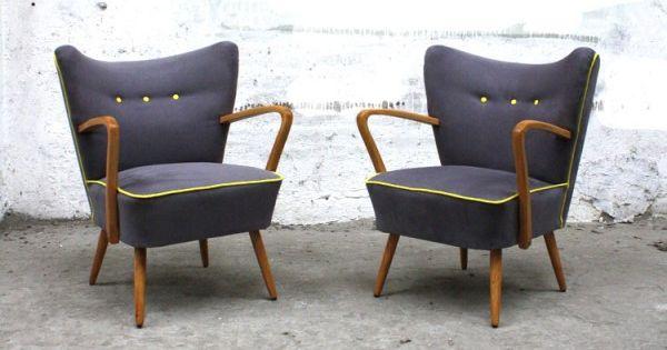 fauteuil cocktail vintage des ann es 50 gris jaune mille m2 pinterest upholstery mid. Black Bedroom Furniture Sets. Home Design Ideas