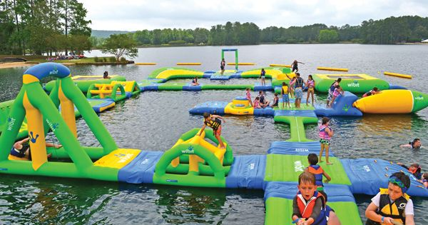 Inflatable Floating Island for Lakes, Inflatable playground on a lake. @YoungDumbAndFun