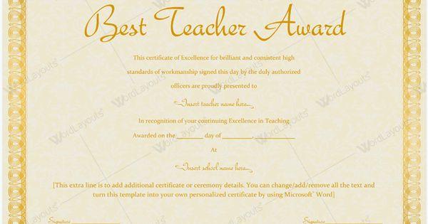 Blank Best Teacher Award Certificate Template teacher – Microsoft Certificate of Excellence