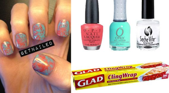 DIY marbled nails using saran wrap. By pressing the plastic wrap over