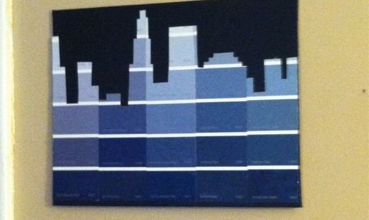 Simple city skylines using paint chips. Fantastic idea! I'm thinking bulletin board