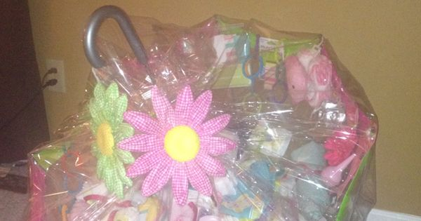 Baby Gift Basket Filler Ideas : Baby shower gift using an umbrella filling with stuff