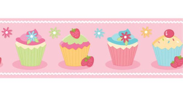 Pink Cupcake Wallpaper Border Bo05466 Wallpaper Border Kids Childrens Wallpaper Border Cupcakes Wallpaper
