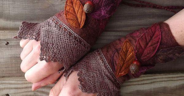 Vintage Lace Faerie Cuffs - fairy costume - fairy accessories - felt