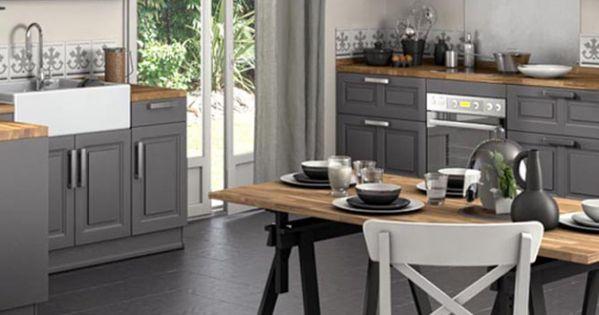 cuisine avec table treteau lapeyre id es pour la maison pinterest cabinets tables and. Black Bedroom Furniture Sets. Home Design Ideas