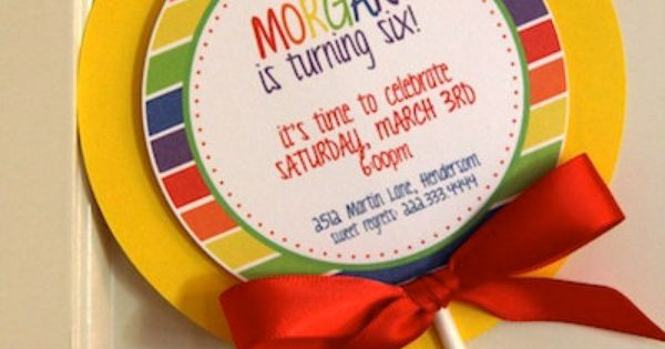 Lollipop Birthday Party Invitations
