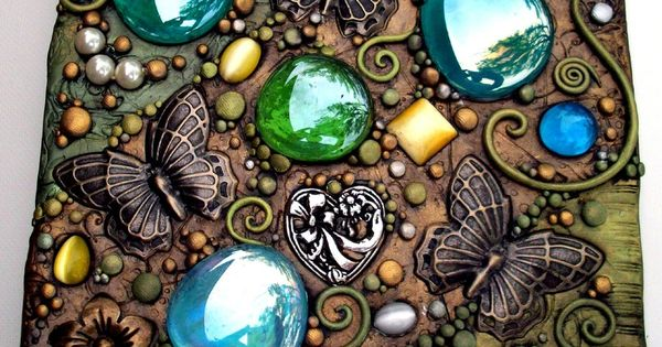 Butterfly Garden Tile, Handmade from polymer clay over treated hardboard this tile