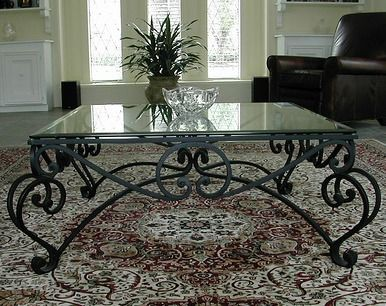 glass wrought iron coffee table console
