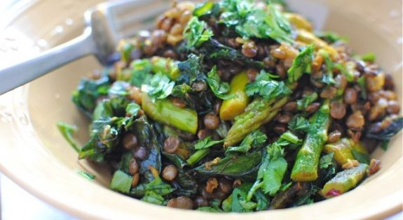 Indian Lentil Saute with kale and Asparagus Recipes