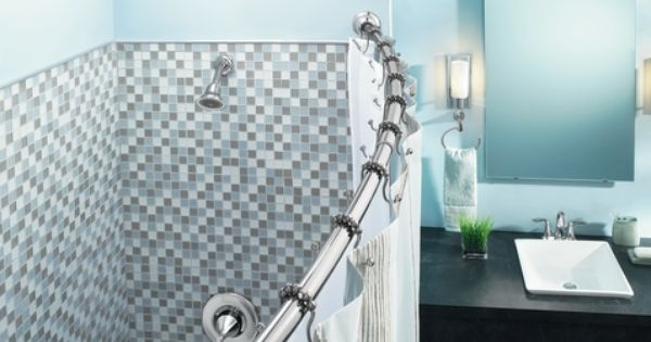 Chrome Adjustable Curved Shower Rod Shower Rod Shower Curtain