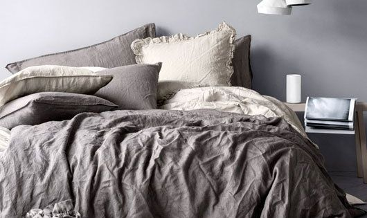 grey linen bedding | This just screams comfort to me.