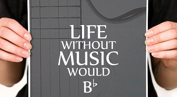 LIFE without MUSIC Guitar Quote Digital Print (Various Color Options) Music Wall