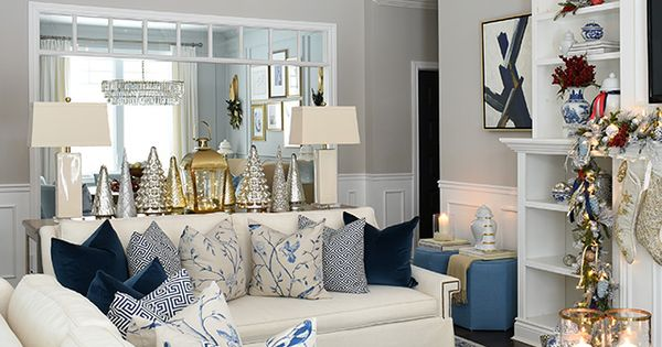 Sophisticated Christmas Living Room Decor Citrineliving Blue Living Room Decor Christmas Living Rooms Modern Sofa Living Room Our hamptons inspired living roomcoming