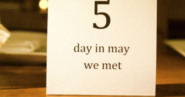 Use table numbers that have a particular significance to your relationship. |