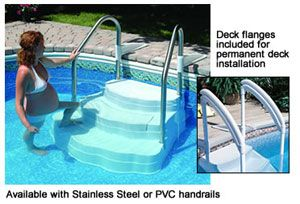 Oasis In Ground Pool Step With Stainless Steel Handrails Pool Steps Inground Pool Steps In Ground Pools
