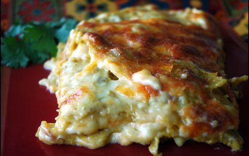Enchilada Lasagna. Creamy chicken enchiladas made into a Mexican lasagna. Count on