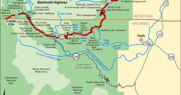 Beartooth Highway Map Via America S Byways Wyoming