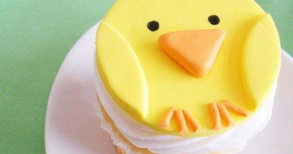 Fondant Cupcake Topper Baby Chick for Farm Theme by TwoSugarBabies