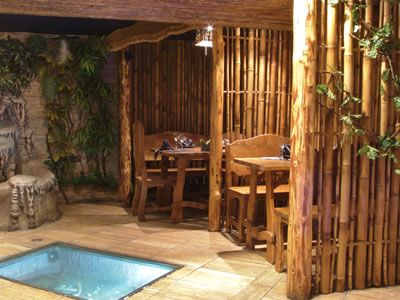 Home Decoration Bamboo Gazebo With Small Pool Interior Using