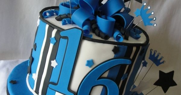 Black & Blue 16th Birthday Cake