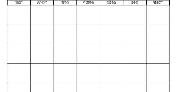 free printable blank monthly calendars
