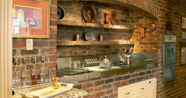Parete mattoni a vista cucina: 69 cucine con pareti di mattoni a vista  Idee per la cucina ...