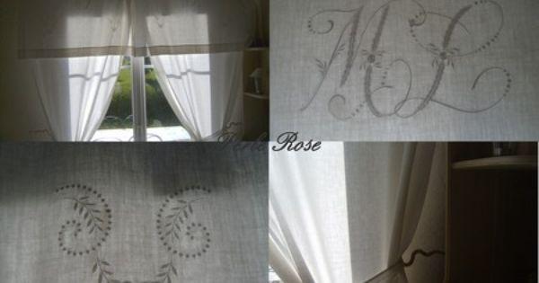 Rideaux avec de vieux draps recycler pinterest vieux - Faire des rideaux avec draps anciens ...