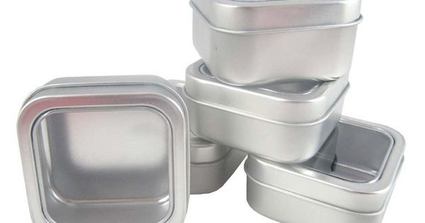 5 Gift Storage 2 Oz Small Square Clear View Top Metal Tins 10 Percent Refund Spice Tins Metal Tins Tin