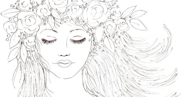 Boho girl with a crown of flowers in her hair youtube for Flower crown coloring page