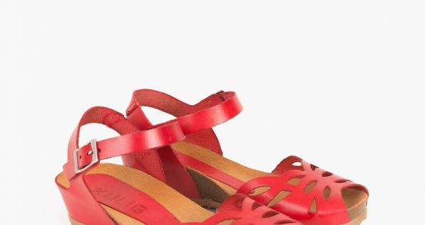 Sandaly 062 300 Czerwon Shoes Wedges Fashion