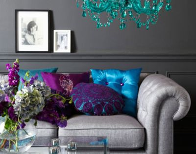 purple teal and silver living room. Love these peacock colors!