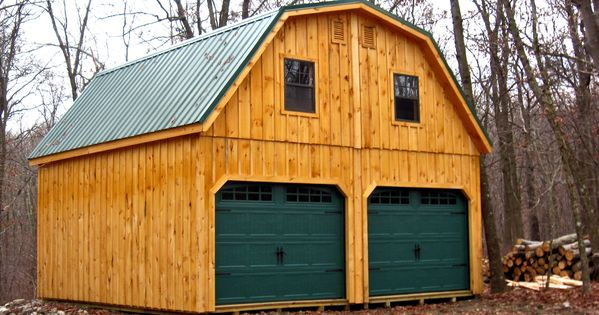 Amish Built Attic Car Garage With Loft Space: 20x20 Raised Roof Garage With Metal, Gambrel Roof