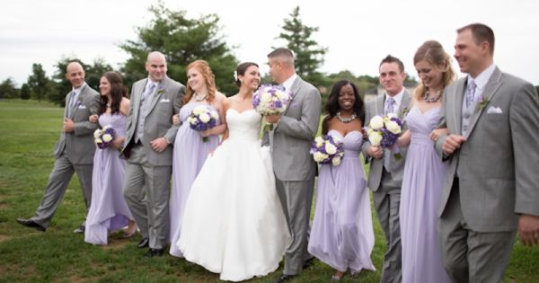 wedding party, lavender purple bridesmaids dresses, classic gray men's attire, bridal party,