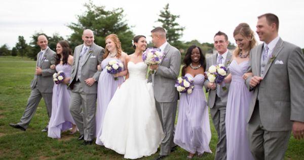 wedding party, lavender purple bridesmaids dresses, classic gray men's attire, bridal party,