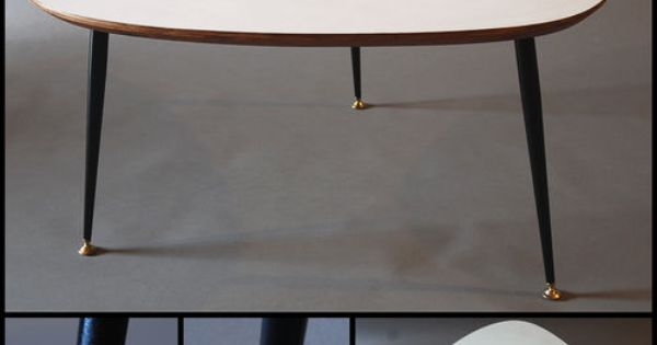 Tres grande table basse tripode design moderniste annee 50 for Table basse scandinave moutarde