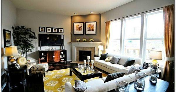 Corner Fireplace Furniture Layout Living Room Staging