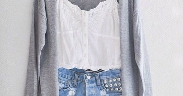 jacket grey cardigan white tank denim shorts studded denim shorts ripped shorts